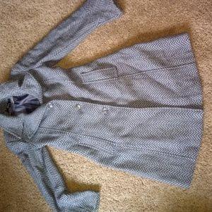 DKNY Wool Blend Herringbone Coat